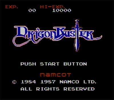 ファミコン版ドラゴンバスターのタイトル画面